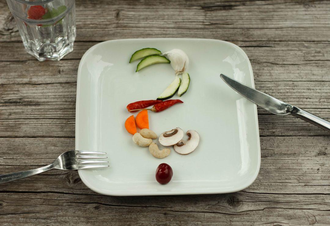 Fragezeichen aus Lebensmitteln